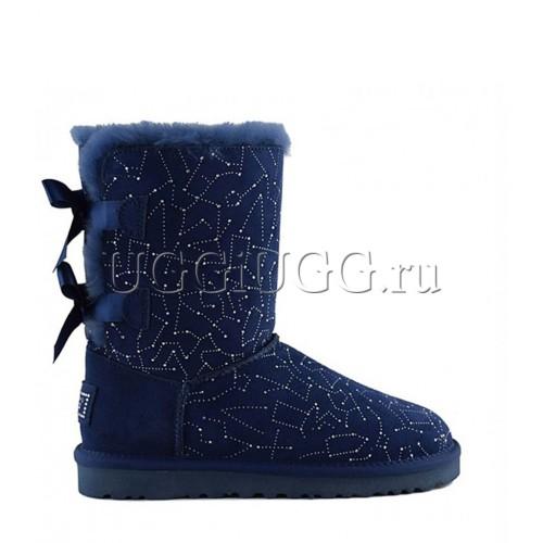 Синие угги в стразах с лентой сзади UGG Bailey Bow Constellation Navy