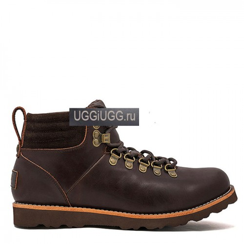 Коричневые мужские угги ботинки кожаные UGG Mens Capulin Chocolate