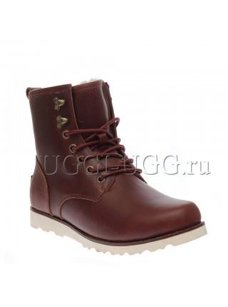 Мужские угги ботинки бордовые UGG Mens Hannen Leather Cordovan