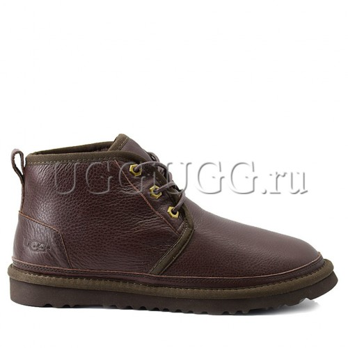 Мужские угги ботинки коричневые кожаные UGG Men Mini Neumel New Metallic Chocolate