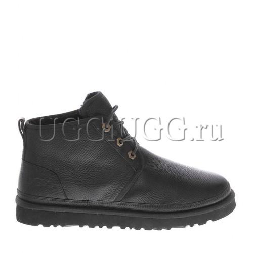 Мужские угги ботинки черные кожаные UGG Men Mini Neumel New Leather Black