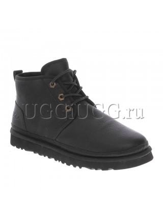 Угги ботинки черные кожаные UGG Men Mini Neumel New Leather Black