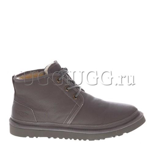 Мужские угги ботинки серые кожаные UGG Men Mini Neumel New Leather Grey