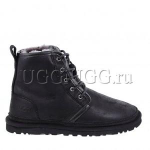 Черные мужские угги на шнурках UGG Mens Harkley Bomber Black