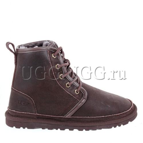 Мужские угги на шнурках коричневые UGG Mens Harkley Bomber Chocolate