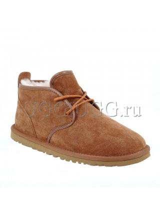Рыжие мужские угги ботинки на шнурках UGG Mens Maksim Chestnut