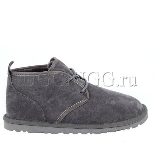 Мужские угги ботинки на шнурках серые UGG Mens Maksim Grey