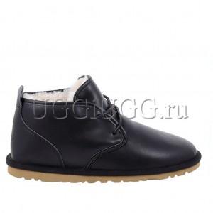 Черные кожаные мужские угги ботинки UGG Mens Maksim Leather Black