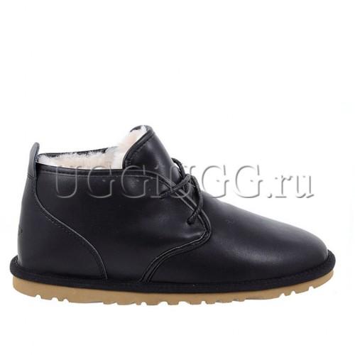 Мужские черные кожаные угги ботинки на шнурках UGG Mens Maksim Leather Black