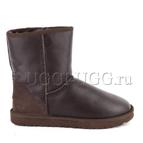 Мужские угги обливные коричневые UGG Men Short Metallic Chocolate