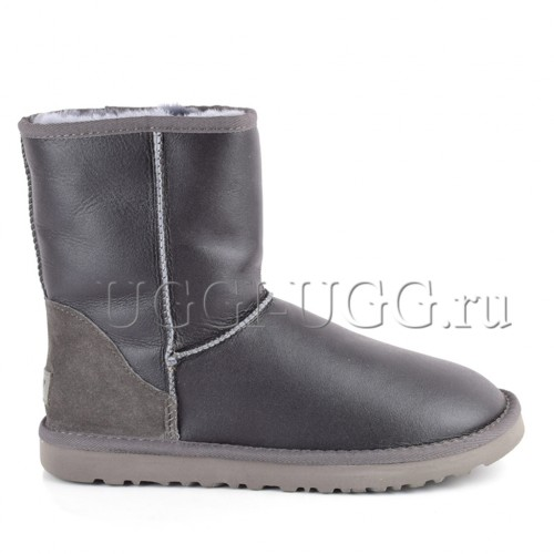 Мужские обливные угги UGG Men Short Metallic Grey