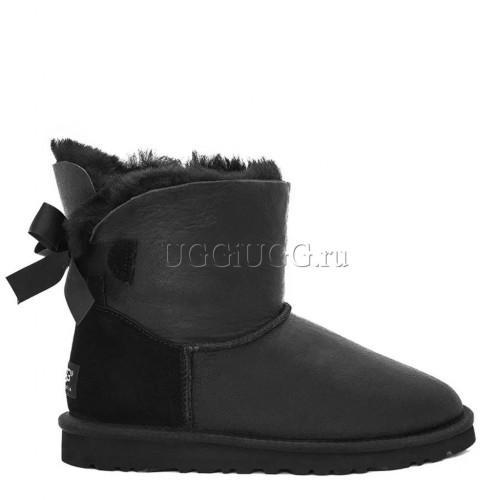 Обливные угги с лентой черные мини UGG Mini Bailey Bow Metallic Black