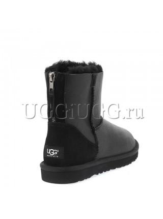 Мини угги на молнии черные обливные UGG Mini Zip Metallic Black