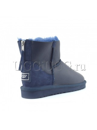 Мини угги на молнии обливные синие UGG Mini Zip Metallic Navy