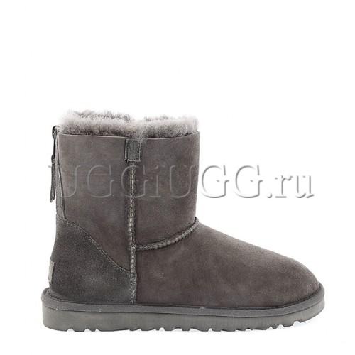 Угги на молнии серые мини UGG Mini Zip Grey