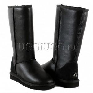 Высокие черные обливные угги UGG Australia Classic Tall Metallic Black