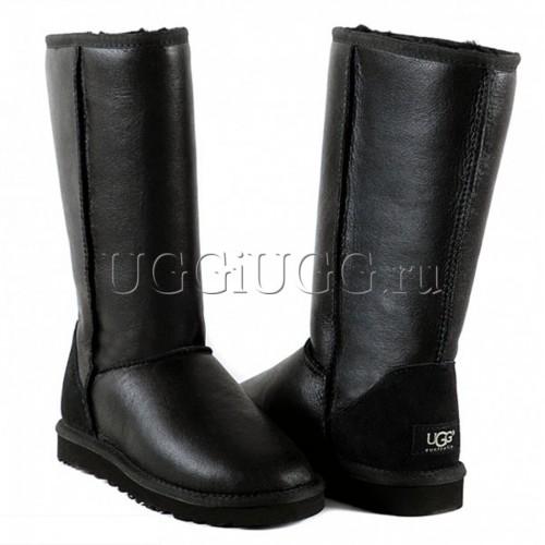 Высокие черные обливные угги UGG Classic Tall Metallic Black