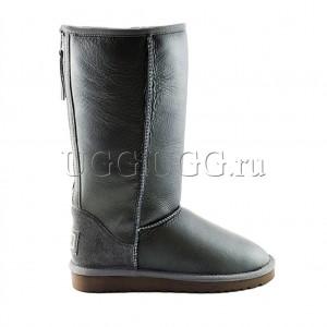 Высокие угги с молнией серые UGG Tall Zip Metallic Grey