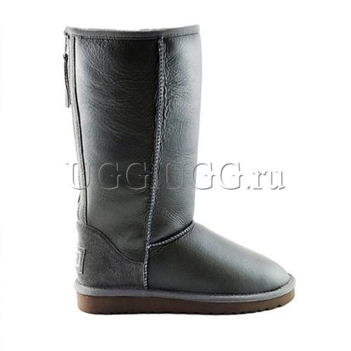 Высокие угги с молнией серые обливные UGG Tall Zip Metallic Grey