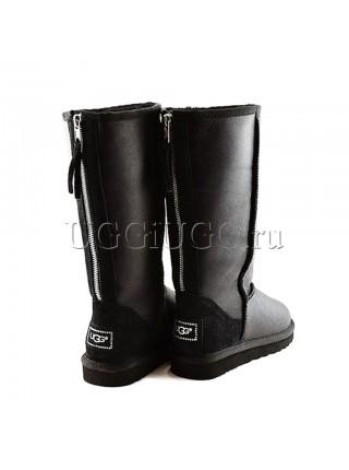 Высокие угги на молнии черные кожаные UGG Tall Zip Metallic Black
