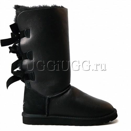Высокие черные обливные угги с лентами UGG Bailey Bow Tall Metallic Black
