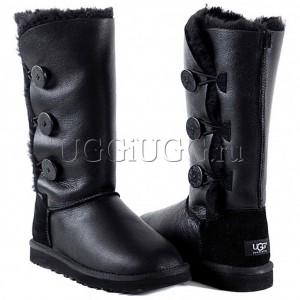 Женские угги с 3-мя пуговицами черные UGG Australia Triplet Metallic Black