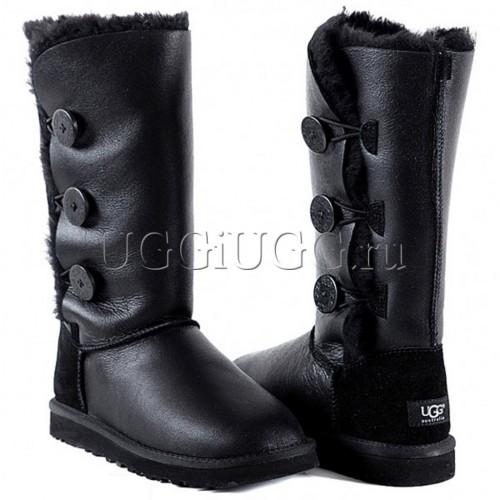 Женские обливные угги с 3-мя пуговицами черные UGG Triplet Metallic Black