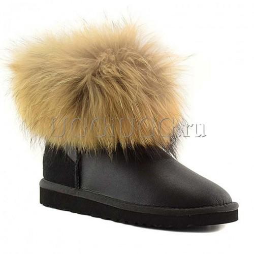 Угги с лисой черные обливные UGG Fox Fur Metallic Black