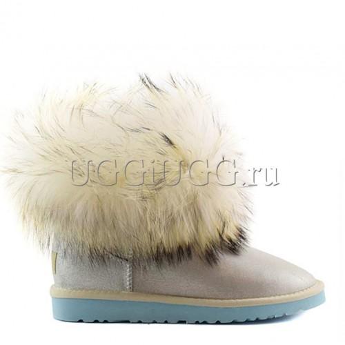 Угги с лисой серебристые глиттер UGG Fox Fur I Do