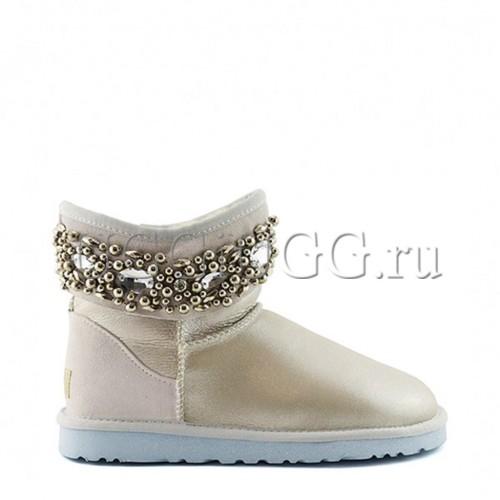 Белые блестящие угги с камнями UGG Jimmy Choo Crystals I Do