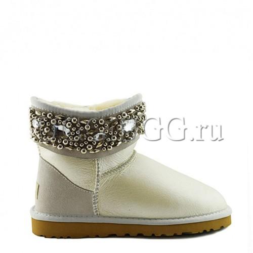 Белые обливные угги с камнями UGG Jimmy Choo Crystals Metallic White