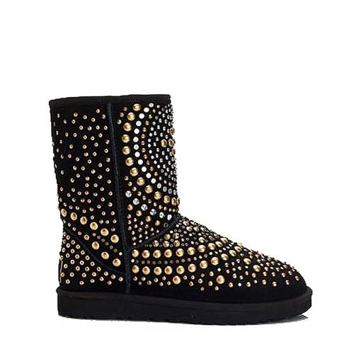 Черные угги с заклепками UGG Jimmy Choo Snow Boots Mandah Black