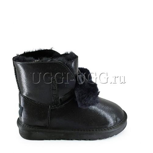Угги для девочки черные с лентой и помпоном UGG Kids Gita Glitter Black