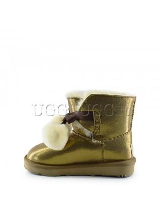 Угги для девочки золотистые с лентой спереди UGG Kids Gita Gold
