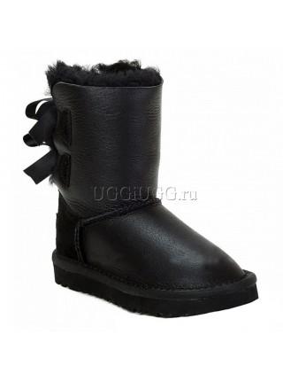 Угги для девочки черные обливные с лентой UGG Kids Bailey Bow Metallic Black