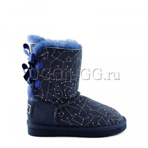 Угги для девочки синие с рисунком и с лентой UGG kids Constellation Bow Navy