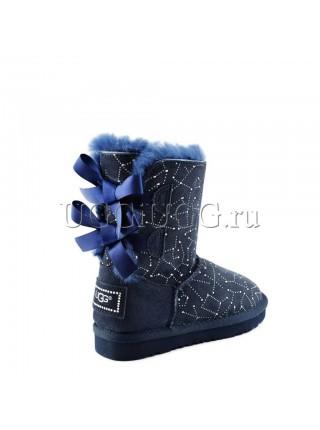 Угги для девочки синие с рисунком UGG kids Constellation Bow Navy