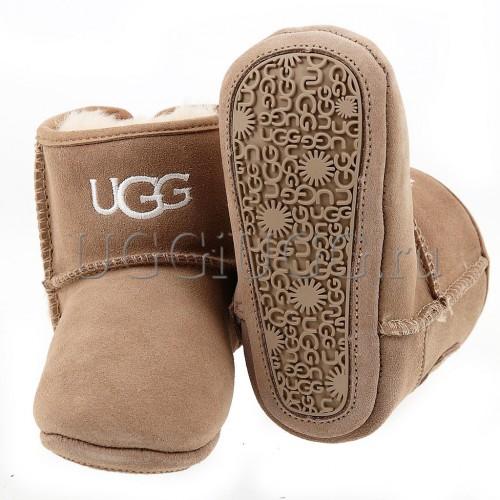 Пинетки угги с подошвой бежевые UGG Kids Jesse Sand