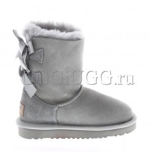 Угги для девочки светло-серые с лентой UGG Kids Bailey Bow II Grey Violet