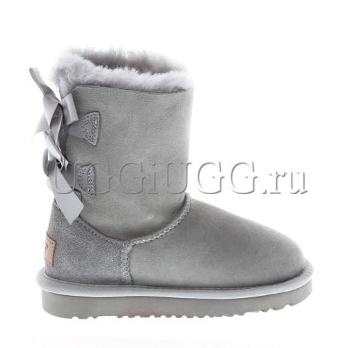 Угги для девочки с лентой светло-серые UGG Kids Bailey Bow II Grey Violet