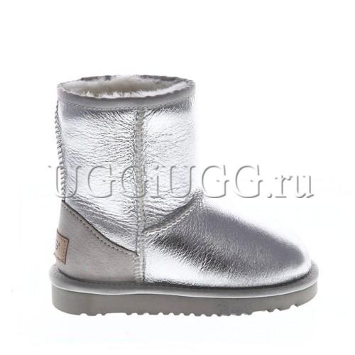 Детские угги классические серебристые UGG Kids Classic Short Metallic Silver