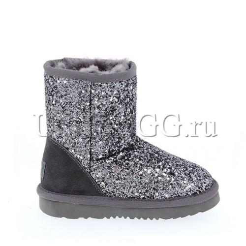 Угги для девочки серые мерцающие UGG Kids Classic Stardust Grey