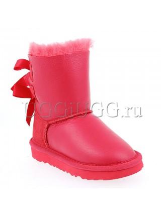 Угги для девочки красные кожаные с лентой UGG Kids Bailey Bow Metallic Red