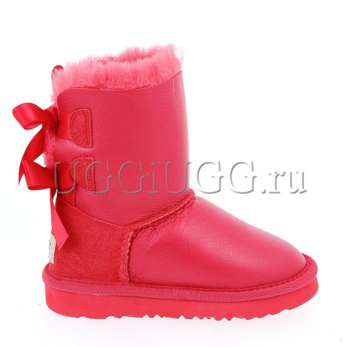 Угги для девочки с лентой красные кожаные UGG Kids Bailey Bow Metallic Red
