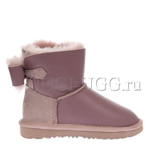 Угги для девочки розовые кожаные с бантиком UGG Kids Naveah Metallic Pink