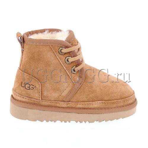 Ботинки угги для мальчика рыжие на шнуровке UGG Kids Neumel II Boot Chestnut