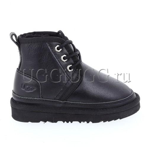 Ботинки угги для мальчика черные обливные UGG Kids Neumel II Boot Metallic Black