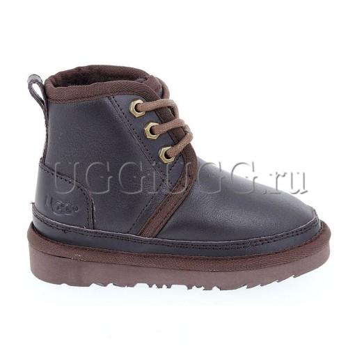 Ботинки угги для мальчика коричневые кожаные UGG Kids Neumel II Boot Metallic Chocolate