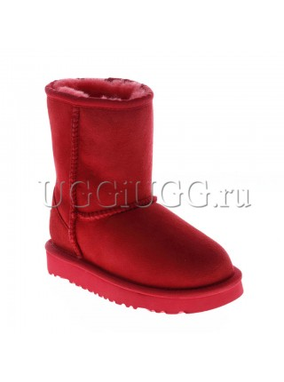 Детские угги короткие красные UGG Kids Classic II Short Red