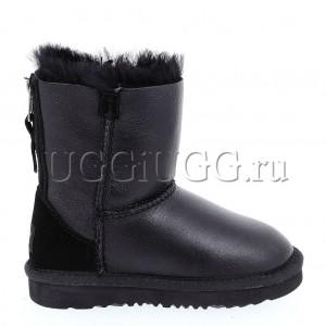 Детские угги на молнии кожаные черные UGG Kids Short Zip Metallic Black